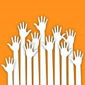Applique of up hands