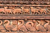 picture of radha  - Figurines made of terracotta at Madanmohan Temple Bishnupur West Bengal India  - JPG