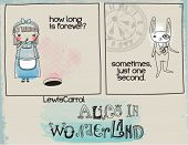 Alice in Wonderland Quotes - Doodle drawing in the comic book style, illustrating a memorable quote from Lewis Carrol's Alice in Wonderland, hand drawn