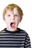 pic of saddening  - isolated child with an emotional facial outburst - JPG