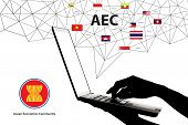 Silhouette Hands touch laptop , Asean map network