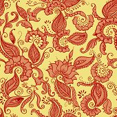 Vector Indian Fabric.  Pattern with flowers