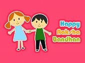 Cute little sister and brother holding hands each other on pink background for the celebrations of Raksha Bandhan festival.