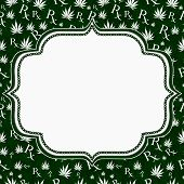 Green And White Marijuana Leaf And Prescription Symbol Frame With Embroidery