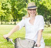 Happy Woman On The Bike