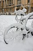 Snow Covered Bicycle In Oxford's Broad Street