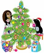 mole and hedgehog decorating a christmas tree