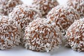detail of chocolate coconut pralines