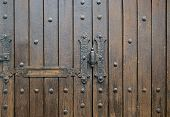 ?exture: Fragment Shabby Wooden Door With Hardware Elements