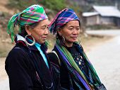 Black Hmong Women Wearing Traditional Attire, Sapa, Vietnam