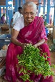 HIKKADUWA, SRI LANKA - MARCH 9, 2014: Local female vendor selling herbs. The Sunday market is a fantastic way to see Hikkaduwa's local life come alive along with fresh produce and local delicacy