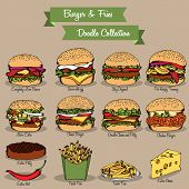 Burger and Fries Doodle Collection