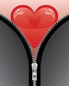 Heart With Open Zipper