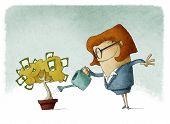 pic of save water  - Woman taking care of her finances watering a money tree - JPG
