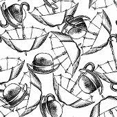 Sketch Open Umbrella And Hat
