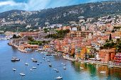 view of luxury Villefranche Sur Mer resort and bay. Cote d'Azur