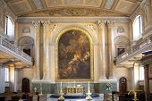 LONDON, UK - JULY 28, 2014: Painted hall, south of London. Paintings took 19 years to complete