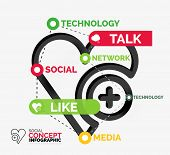 Social like infographic - heart shape with connected keywords