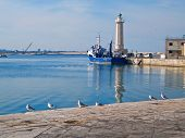 Landscape view of Molfetta touristic port.