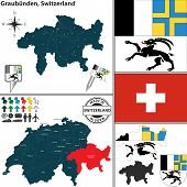 Map Of Graubunden, Switzerland
