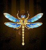 image of brooch  - mechanical dragonfly brass and gold with wings decorated with blue glass and gears - JPG