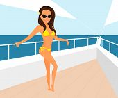 Brunette woman wearing yellow swimsuit is posing on the yacht