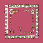 Vector illustration of vintage floral frame