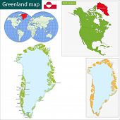 Map of the Greenland drawn with high detail and accuracy