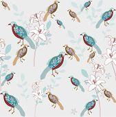 bird with flower seamless background