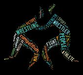 Wrestling Word Cloud With Colorful Wordings