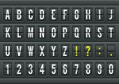 Airport arrival table alphabet with characters and numbers.