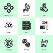 Set of white casino icons.