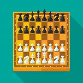 Chess figures and board set in flat style.