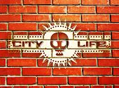 picture of thug  - Brick wall with urban life sign and skull - JPG