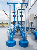 stock photo of hvac  - Water pump and steel pipe blue color - JPG