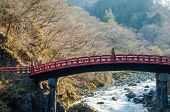 Red Sacred Bridge In Nikko World Heritage Area