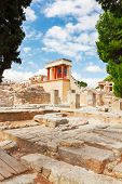 stock photo of minotaur  - ancient ruines of Knossos palace at Crete at sunny day - JPG