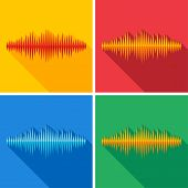 Set of flat music wave icons