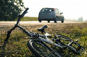 stock photo of dangerous situation  - Car and bicycle accident - JPG