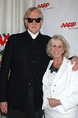 LOS ANGELES - AUG 1:  T. Bone Burnett, Callie Khouri at the AARP Luncheon IHO Jeff Bridges at the Spago on August 1, 2014 in Beverly Hills, CA