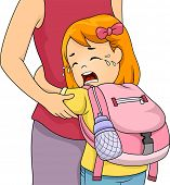 Illustration of a Little Girl Crying Out Loud While Clinging to Her Mom