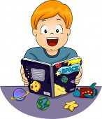 Illustration Featuring a Little Boy Reading an Astronomy Book Happily