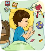 Illustration of a Sleeping Boy Surrounded by Educational Materials