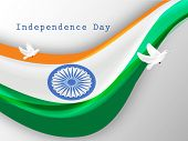 Indian National flag waving and flying pigeons, symbol of freedom on grey background for 15th of Aug