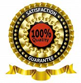 Satisfaction guarantee gold vector label with ribbon.