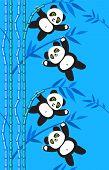 panda bear on bamboo branches (seamless pattern)