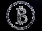 Bitcoin Symbol In A Board Background