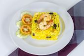 Garnished Yellow Fried Rice With Shrimps