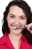 Beautiful Woman Brushing Teeth