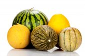 stock photo of muskmelon  - Different varieties of melons mirrored and isolated on white Background - JPG